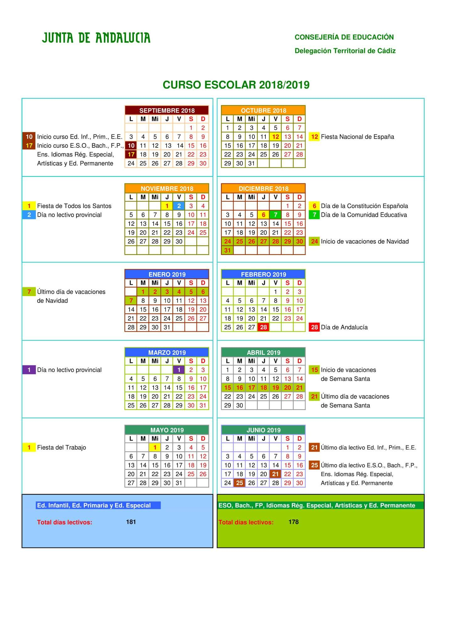 Calendario Escolar 2020 Cadiz.Calendario Escolar 2018 2019 Cadiz I E S Antonio Machado