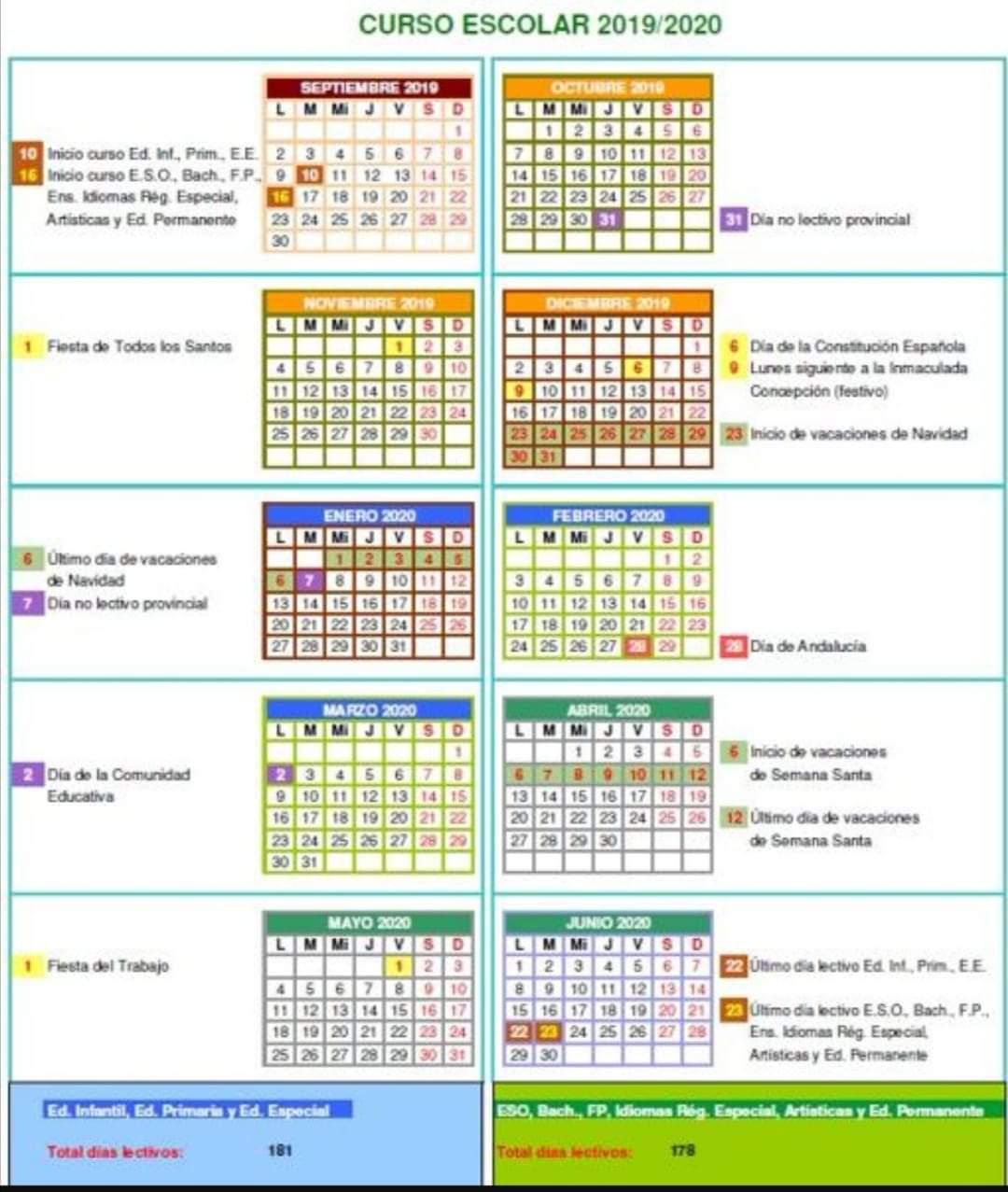 Imagen de la noticia: Calendario escolar de Cádiz. Curso 19/20