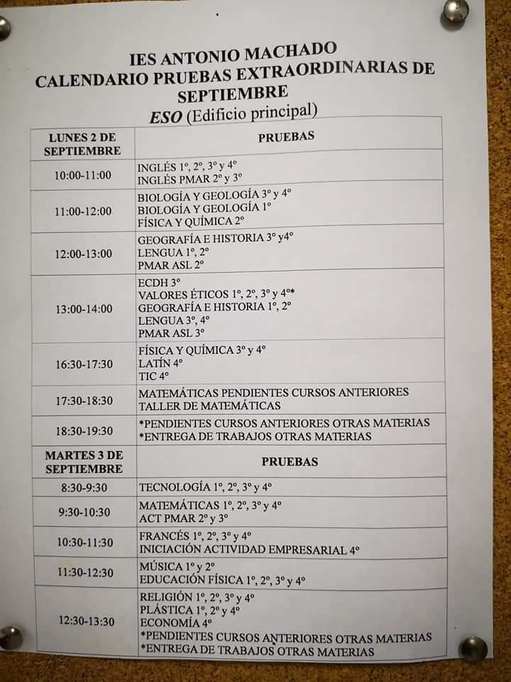 Imagen de la noticia: Calendario de Exámenes de Septiembre.