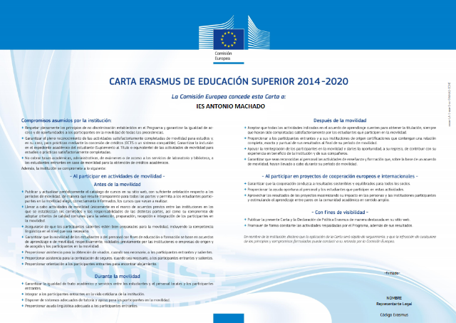 Imagen de la noticia: ERASMUS CHARTER FOR HIGHER EDUCATION [Actualizado]