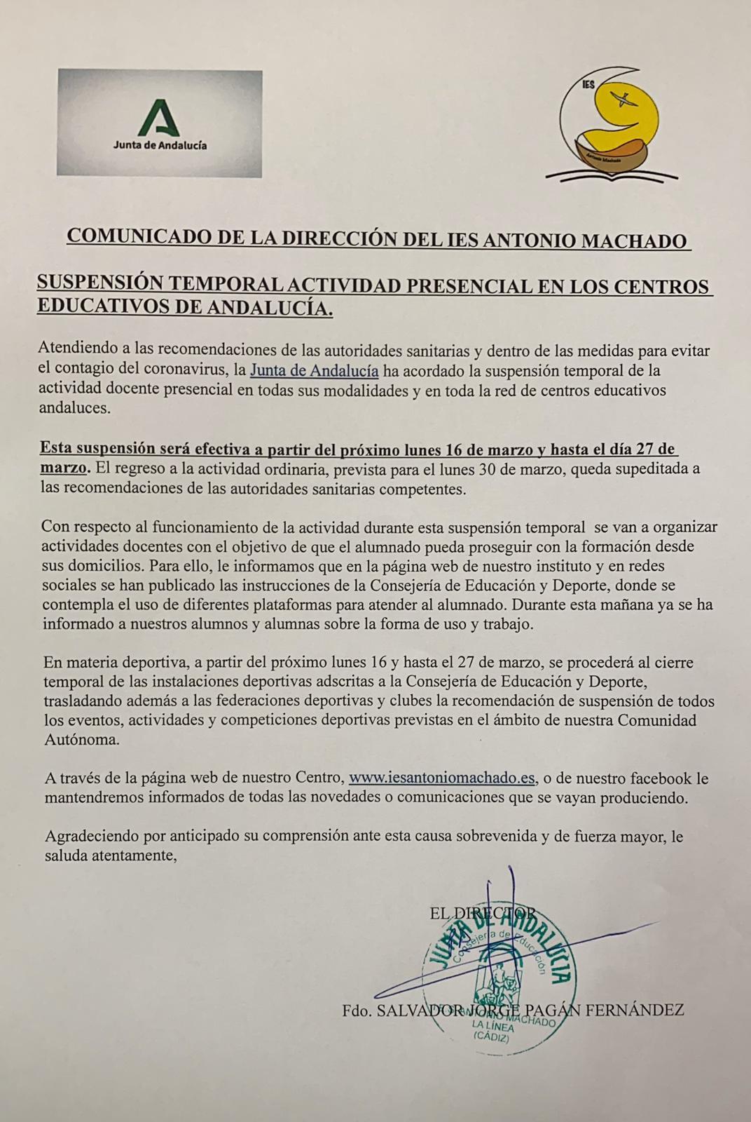 Imagen de la noticia: Comunicado de la Dirección del Centro con relación a la suspensión temporal de la actividad docente por el COVID 19. [Actualizado]