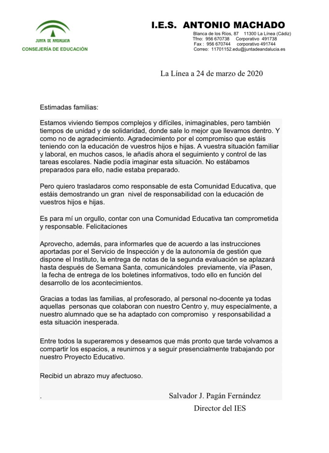 Imagen de la noticia: Carta a las Familias de la Dirección  [Actualizado]