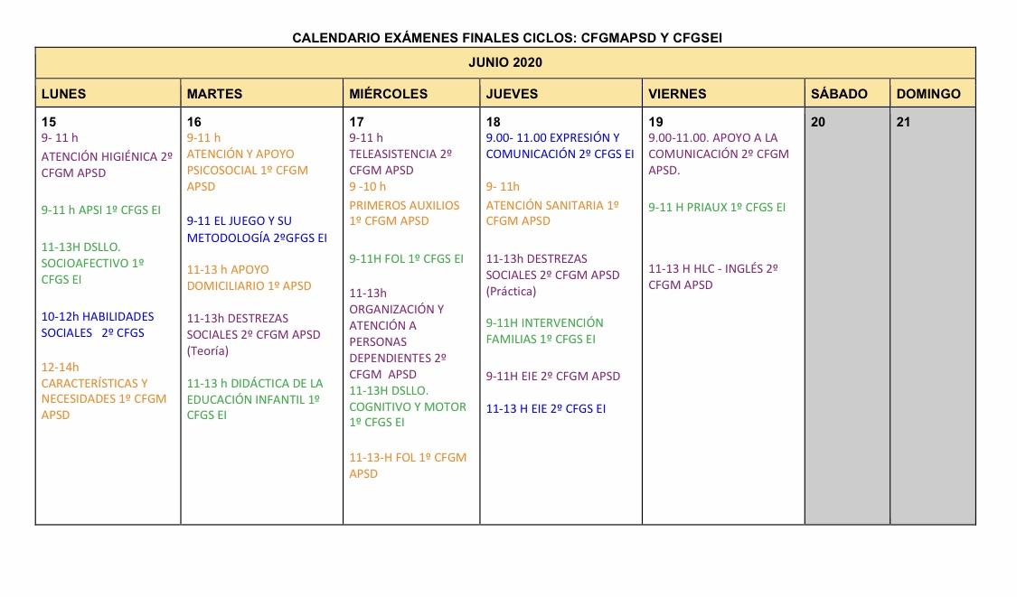 Imagen de la noticia: Calendario Exámenes finales Ciclos Formativos [Actualizado]
